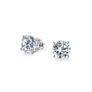 Bling Jewelry Unisex Round Screwback CZ Stud earrings 925 Sterling Silver 5mm