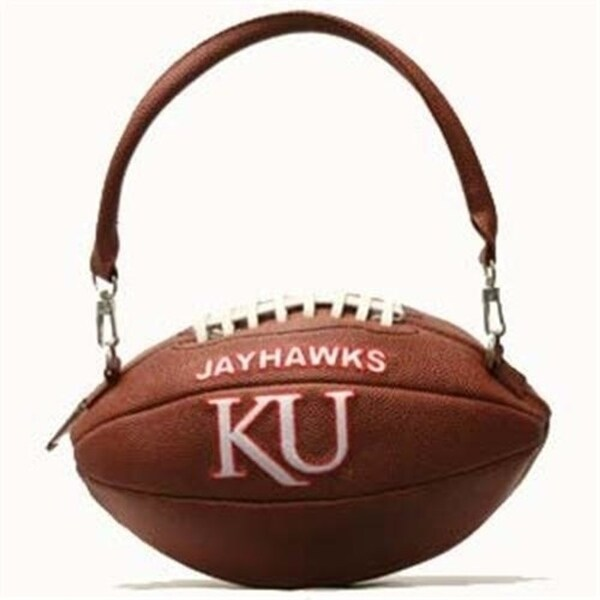 Kansas Jayhawks Ku Football Shaped Purse Convertible Handbag Cross Body