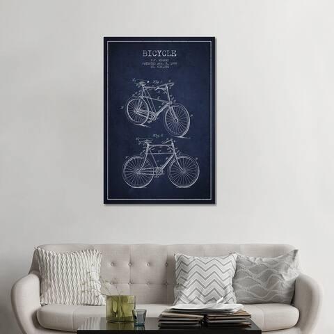 "iCanvas ""Bike Navy Blue Patent Blueprint"" by Aged Pixel Canvas Print"