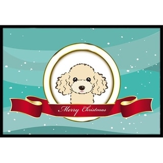 Carolines Treasures BB1568JMAT Buff Poodle Merry Christmas Indoor & Outdoor Mat 24 x 36 in.
