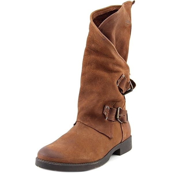 Coolway MC-28 Women Round Toe Leather Brown Mid Calf Boot
