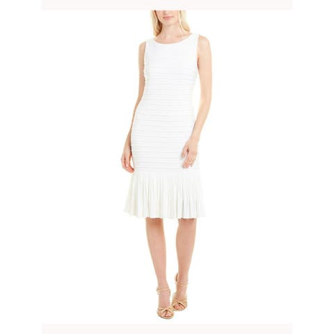 ADRIANNA PAPELL White Sleeveless Above The Knee Sheath Dress Size 10