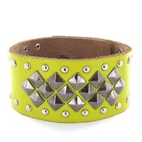 Green Leather Multi Pyramid and Round Studs Bracelet with Adjustable Snap Closure (Sold Ind.) (32 mm) - 7.5 in