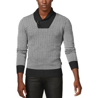 Sean John Big and Tall Shawl Collar Herringbone Sweater Black and White 3XL
