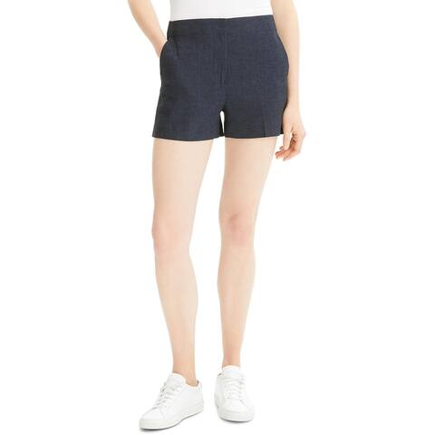 Theory Womens Shorts Heathered High Rise - Navy Melange