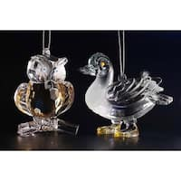"Club Pack of 12 Icy Crystal Decorative Owl and Duck Ornaments 3"" - CLEAR"
