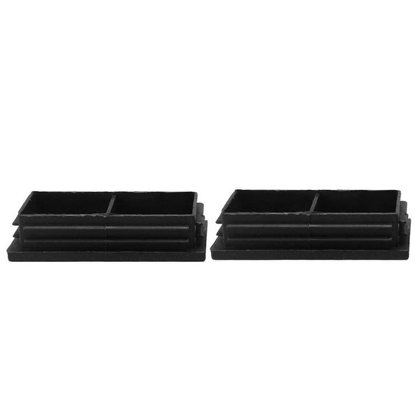 2pcs 40 x 80mm Plastic Rectangle Ribbed Tube Inserts End Cover Cap Furniture Floor Protector