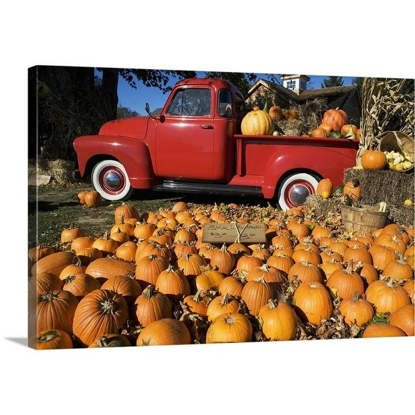 Premium Thick-Wrap Canvas entitled Pumpkin farm with a red pickup truck in Peconic, New York - Multi-color