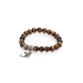 Natural Stone Meditation Stretch Bracelet Tibetan Mala with Good Luck Om Charm, Tiger Eye