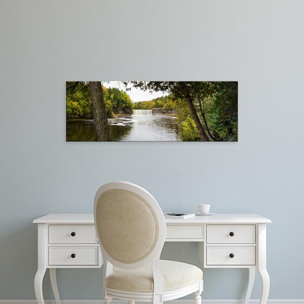 Easy Art Prints Panoramic Image 'Waterfall in forest, Tahquamenon Falls State Park, ChippewCounty, Michigan' Canvas Art