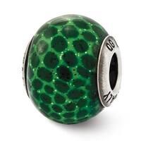Italian Sterling Silver Reflections Green Glitter Glass Bead (4mm Diameter Hole)