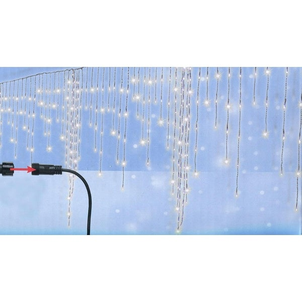 Set of 370 Cool White LED Christmas Giant Icicle Lights - Connect 24V Extension Set - Clear Wire