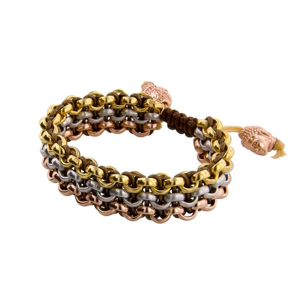 Links Women's Metallic Brown Six-Row Bracelet in 14K Yellow, White, & Rose Gold Plate - three-tone