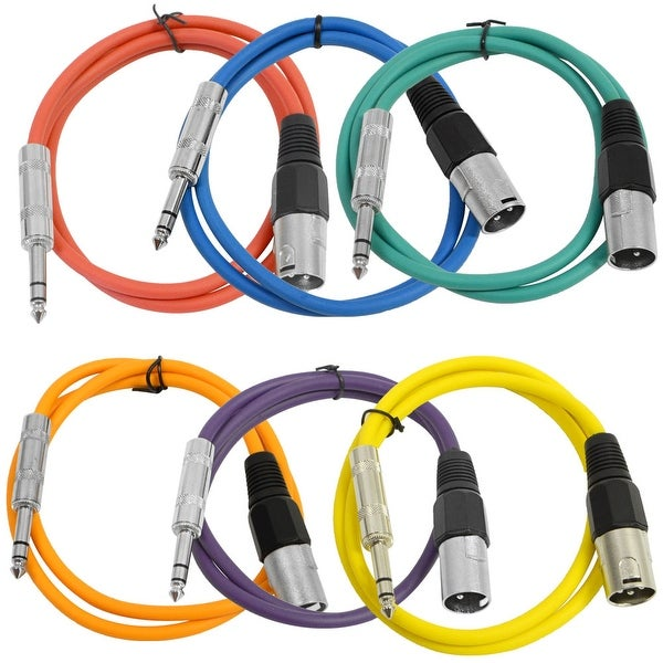 "Seismic Audio SEISMIC 6 PACK Color 1/4"" TRS XLR Male 3' Patch Cables"