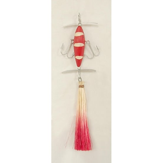 Red And White Sisal Lure Fishing Christmas Ornament 6.5""