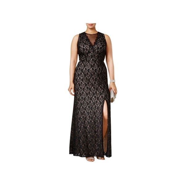 Nightway Womens Plus Evening Dress Lace Full-Length