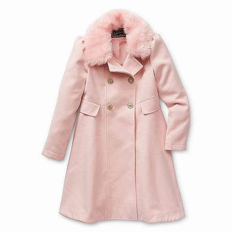 Rothschild Girl's Jacket Pink Size 6 Faux-Fur Neckline Princess Solid