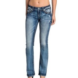 Miss Me Denim Jeans Womens Mid Rise Bootcut Medium Wash