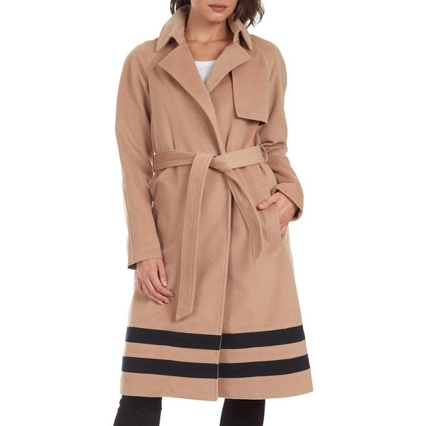 Rachel Rachel Roy Women's Belted Slimming Stiped Trench Coat with Notch Collar - Light Camel. Opens flyout.