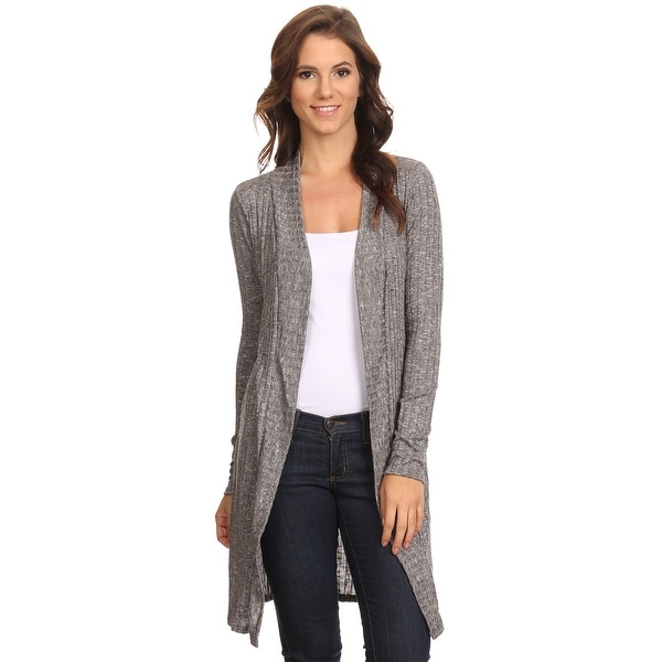 Sharon's Outlet Women's Ribbed Open Front Long Cardigan Small to 3XL Made in USA