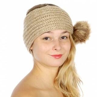 Womens Tan Tonal Faux Fur Pom-Pom Accent Soft Trendy Knit Headband