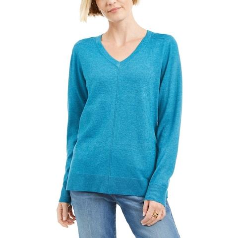 Karen Scott Women's V-Neck Pullover Sweater Blue Size X-Small