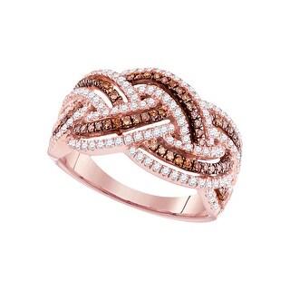 3/4Ctw Brown Diamond Fashion Ring Rose-Gold 10K