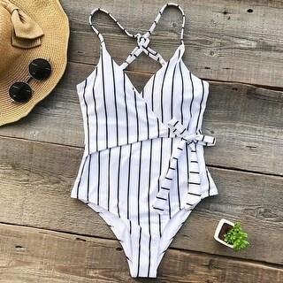 white striped one piece summer swimsuit bikini set