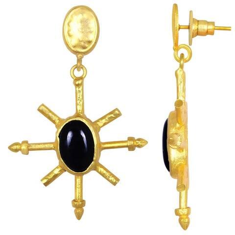 Onyx Brass Oval Dangle Earrings by Orchid Jewelry
