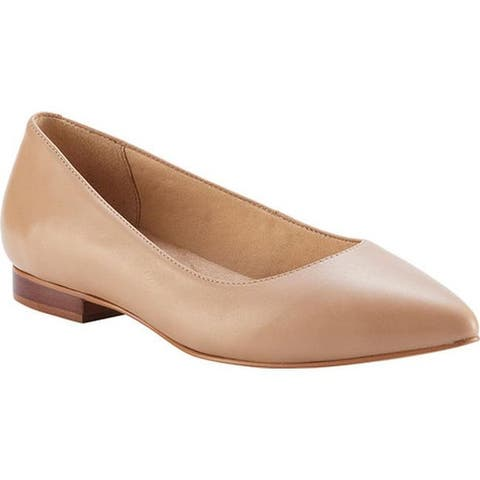 Walking Cradles Women's Reece Pointed Toe Flat Nude Leather