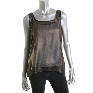 Aqua Womens Sheer Metallic Casual Top - L