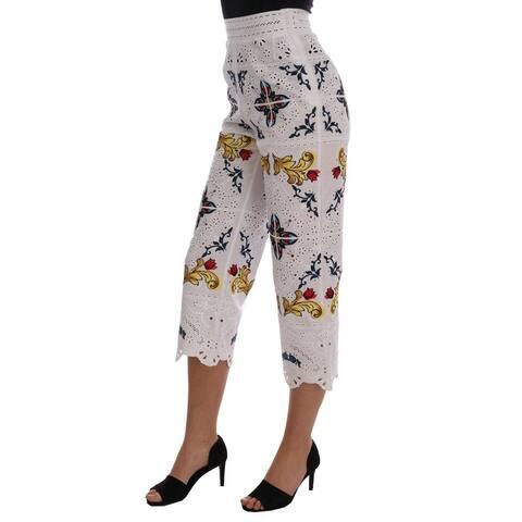 Dolce & Gabbana Mulicolor Majolica Cutout Capri Women's Pants