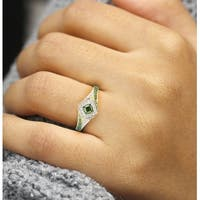 Prism Jewel 0.52CT Princess and Round Shaped Green Diamond with Diamond Engagement Ring