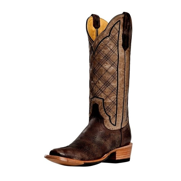 Cinch Western Boots Womens Cowboy Vintage Plaid Chocolate