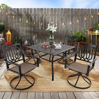 """Link to MFSTUDIO 5-Piece Patio Dining Set, 4 Sling Swivel Chairs and Multi Role Metal 37inch Square Table with 1.57"""" Umbrella Hole Similar Items in Outdoor Dining Sets"""