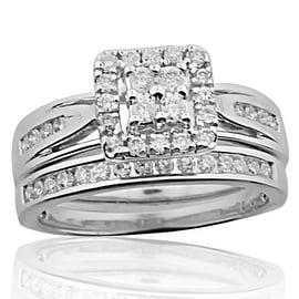 10K White Gold Wedding Rings Set 1/2ctw Diamonds Engagement ring and Band 10mm Wide(i2/i3, i/j)