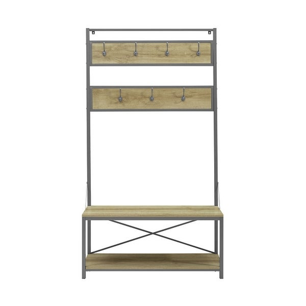 """Office Accents 72"""" Industrial Metal and Wood Hall Tree - White Oak"""