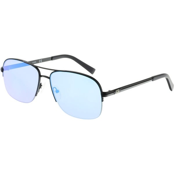 c637b896da8fc Shop Guess Mirrored GF5014-02X-59 Black Semi-Rimless Sunglasses ...