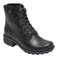 Rockport Women's Cobb Hill Brunswick Lace Combat Boot Black Full Grain Leather