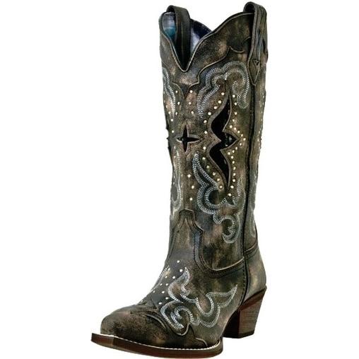 dbd86baf2d7 Laredo Western Boots Womens Lucretia Snake Print Inlay Black Tan