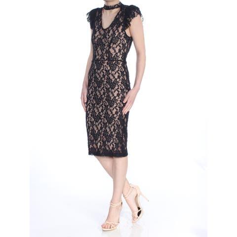 XOXO Black Short Sleeve Below The Knee Sheath Dress Size XS