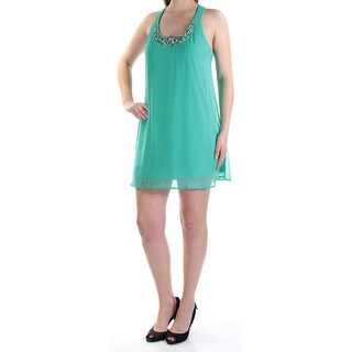 Womens Green Sleeveless Micro Mini Shift Dress Size: M