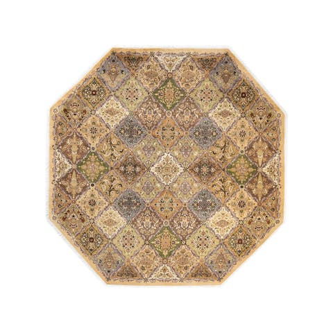 """Mogul, One-of-a-Kind Hand-Knotted Area Rug - Yellow, 7' 1"""" x 7' 1"""" - 7' 1"""" x 7' 1"""""""