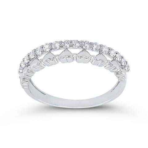 14K White Gold 1/5ct TDW Diamond Heart Fashion Ring (I-J, I1)