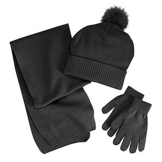 Berkshire Fashions Girls Solid 3PC Winter Set Hat Gloves Scarf One Size