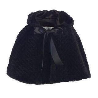 Lito Big Girls Black Ribbon Accent Hooded Swirl Texture Faux Fur Cape 8-10