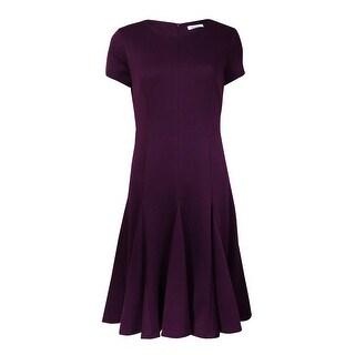 Calvin Klein Women's Crewneck Short Sleeves Ponte Flared Dress|https://ak1.ostkcdn.com/images/products/is/images/direct/3b3fe81cbcea2cd32f76deebc622396243c57650/Calvin-Klein-Women%27s-Crewneck-Short-Sleeves-Ponte-Flared-Dress.jpg?_ostk_perf_=percv&impolicy=medium
