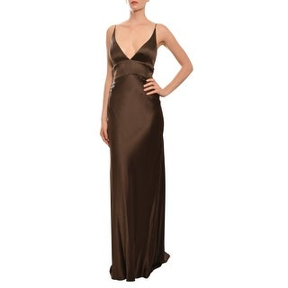 Monique Lhuillier Silk V-Neck Fitted Evening Gown Dress - 10