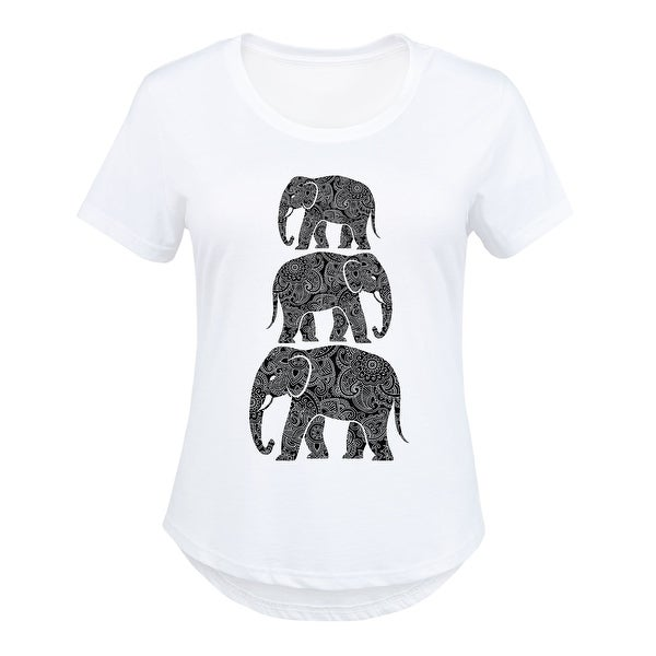 69c73c13 Shop Elephants Stacked Henna Pattern - Ladies Plus Size Scoop Neck Tee - Free  Shipping On Orders Over $45 - Overstock - 20356091