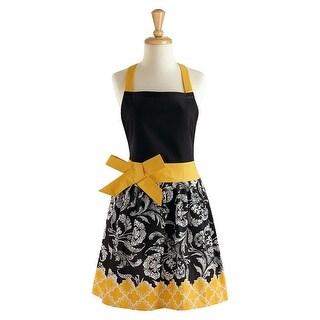 "29"" Jet Black and Sunshine Yellow Women's Floral Kitchen Apron"
